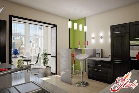 дизайн кухни 0овмещенной с балконом