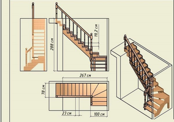 Лестница своими руками с поворотом на 90 963