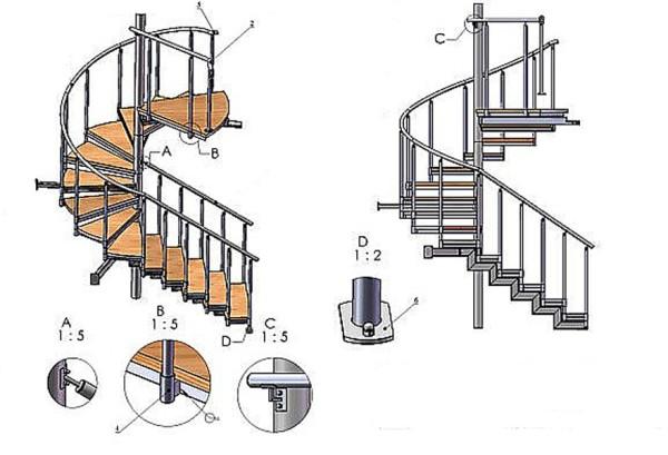 Схема монтажа металлической лестницы