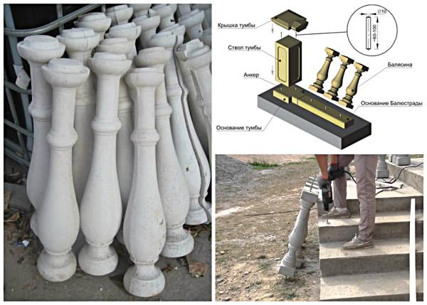 Установка бетонных балясин
