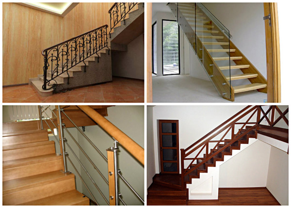Поручни на лестнице в интерьере