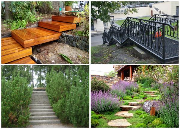 Варианты садовых лестниц